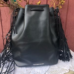 💗 SALE 💗 Victoria Secret black fringe backpack